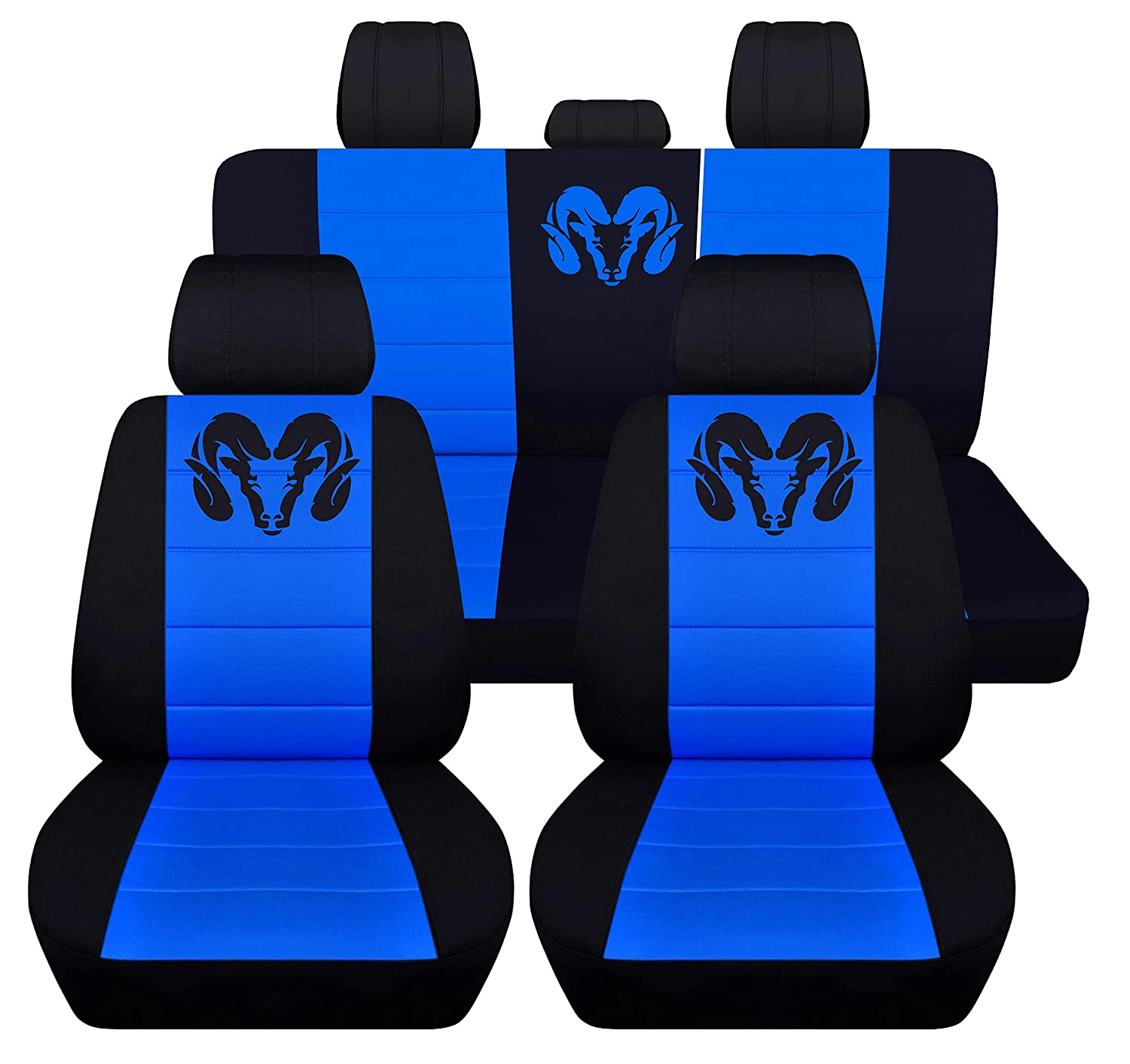 Fits 2012 to 2018 Dodge Ram Front and Rear Ram Seat Covers 22 Color Options 40-60 Rear with Armest, Black Burgundy