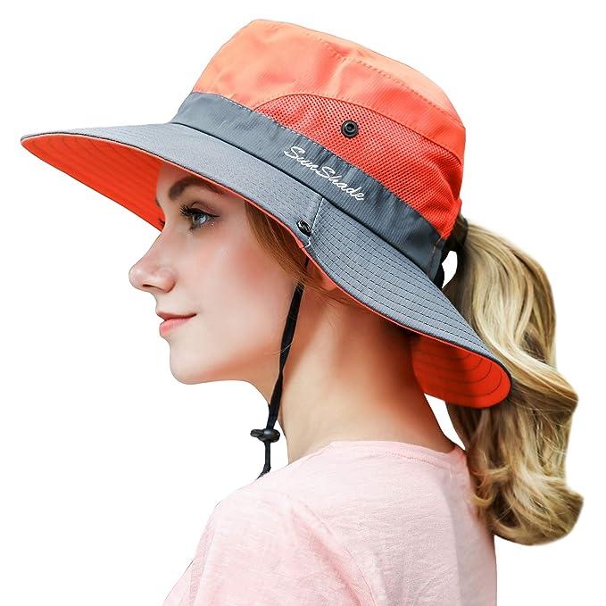 f47bea4474530 Women Outdoor Sun Hat UV Protection Wide Brim Mesh Foldable Safari Beach  Fishing Bucket Cap Orange