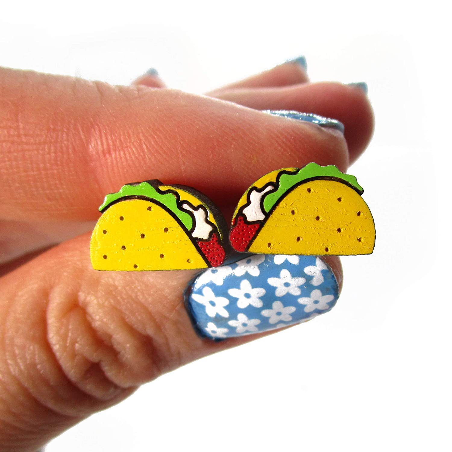 Tiny Wood Taco Stud Earrings with Stainless Steel Posts, Taco Tuesday Jewelry, Miniature Food