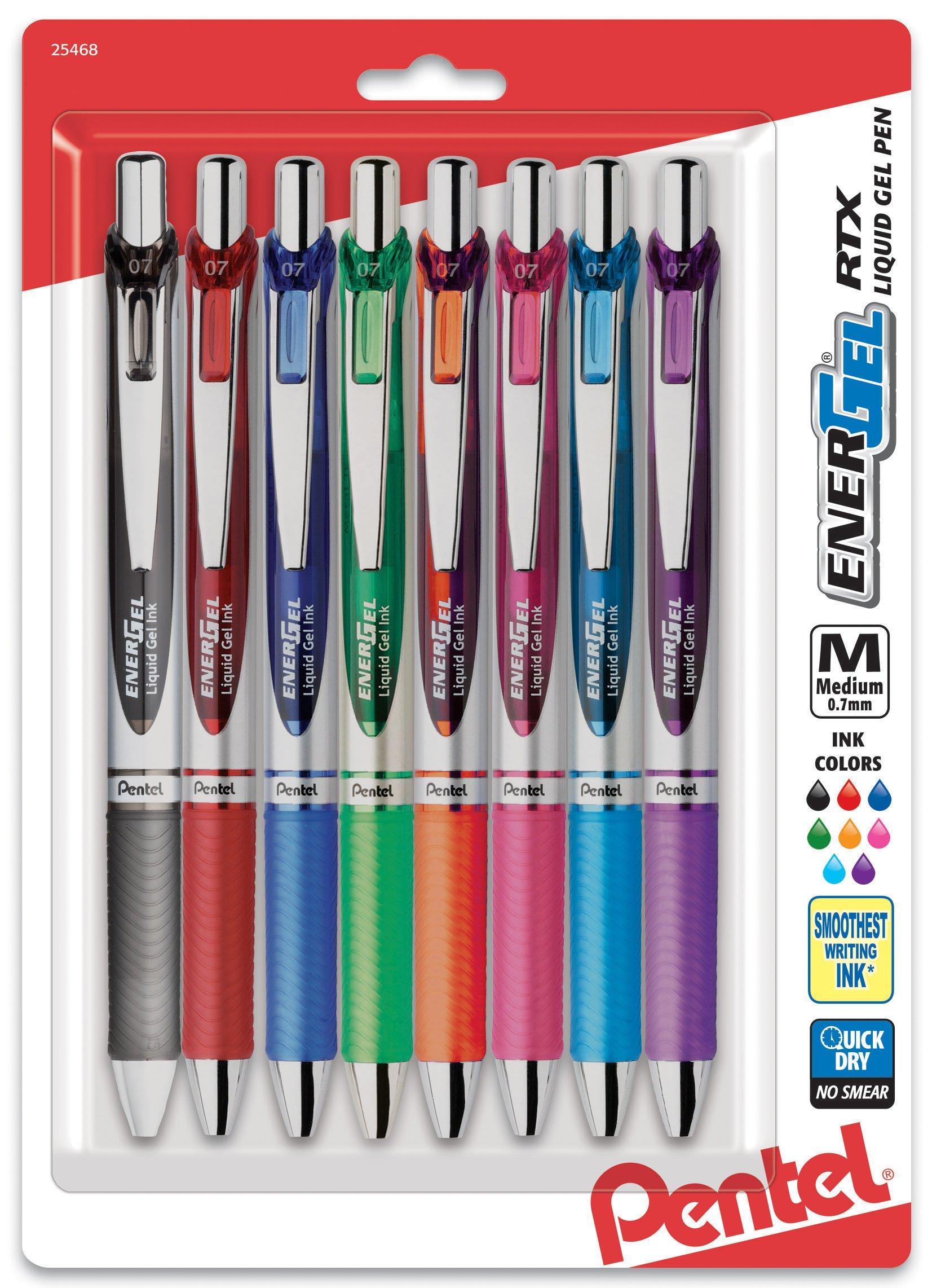 Pentel EnerGel RTX Retractable Liquid Gel Pen, Medium Line, Metal Tip, Assorted Ink, 8-Pack (BL77BP8M) by Pentel