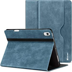 iPad Air 4 Case 2020 with Built-in Pencil Holder, iPad Air 4th Gen (10.9-inch) PU Leather Case with Pocket & Strap, Multiple Viewing Angles, Soft TPU Back Protective Case for iPad Air 4 2020,Blue