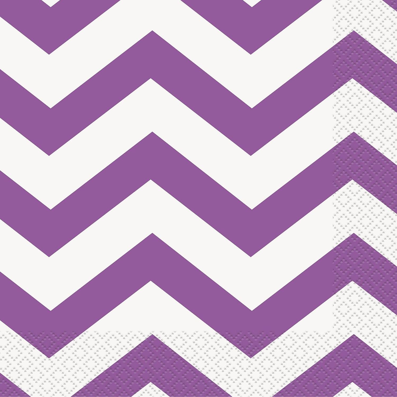 Unique Purple 38622 Chevron Paper Napkins, 16ct, 6.5