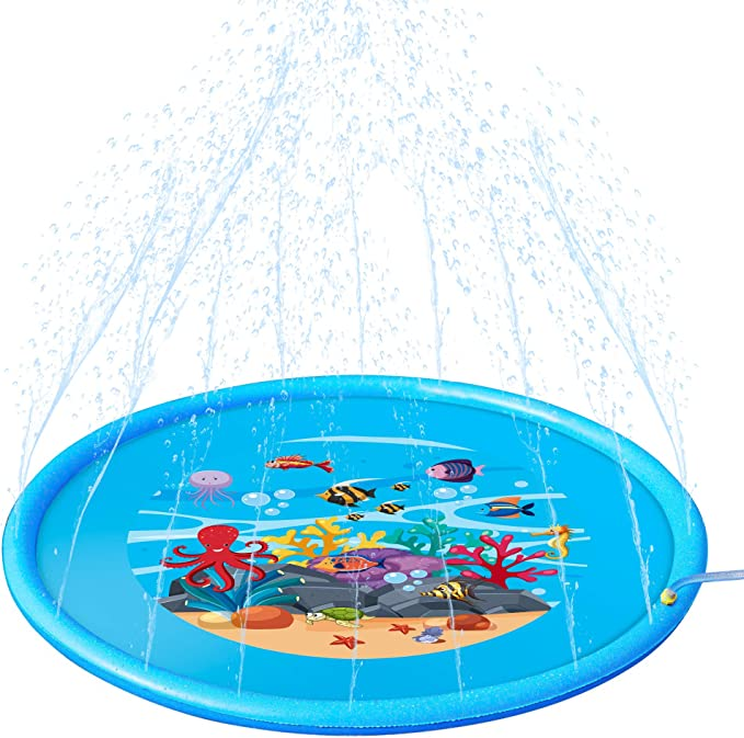 "Mademax Upgraded 68"" Sprinkle & Splash Play Mat, Inflatable Outdoor Sprinkler Pad Water Toys Fun for Children, Infants, Toddlers, Boys, Girls and Kids"