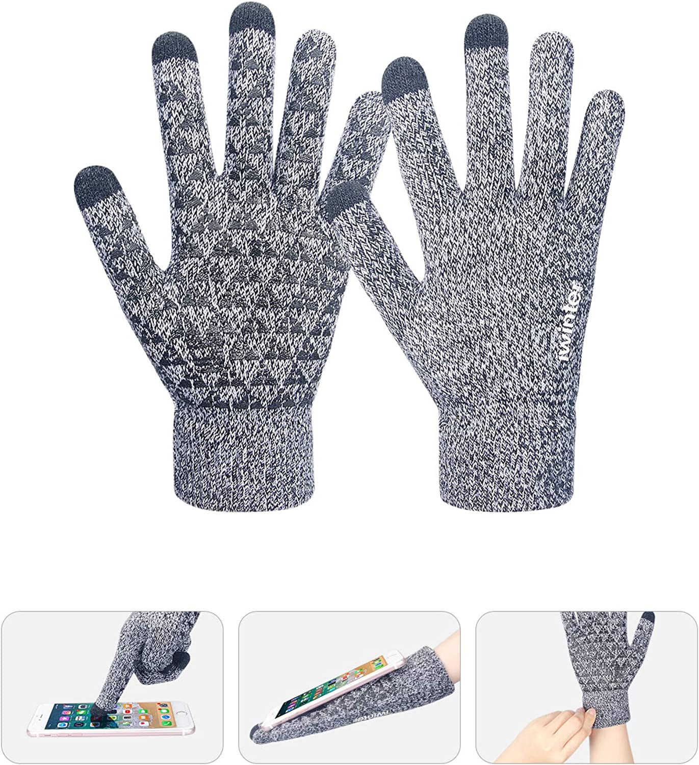 coskefy Beanie Hat Scarf Gloves Set Winter Warm Knitted Skull Cap Touch Screen Gloves Neck Warmer with Soft Fleece Lining for Teen Boys Girls