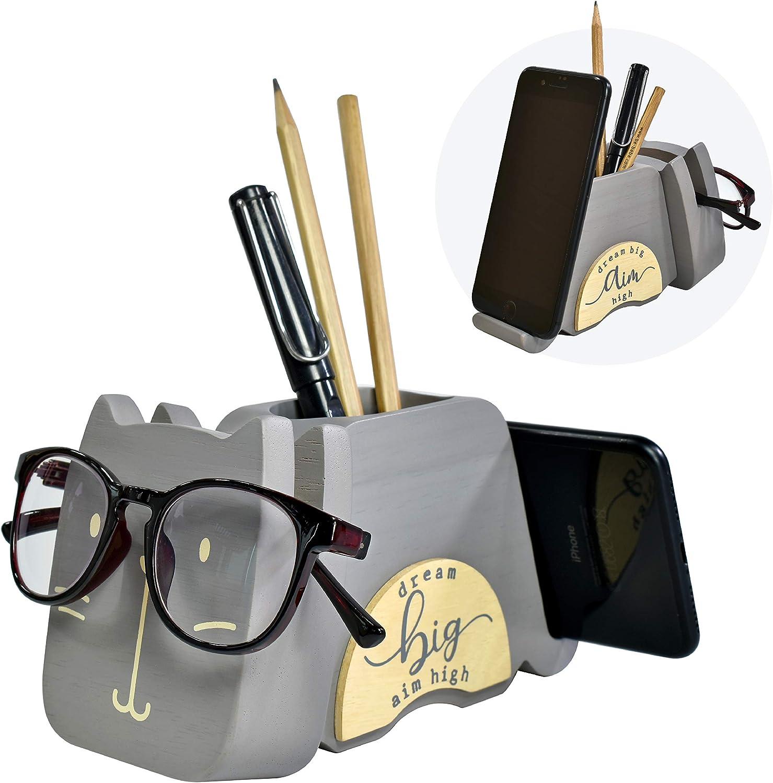 "I'm Wood Multipurpose Eyeglass Phone Pen & Pencil Holder Stand Stationery Desk Organizer Accessories Decor, For Home Office Desktop Decoration Birthday Graduation Gifts ""Dream Big Aim High"" (Cat)"