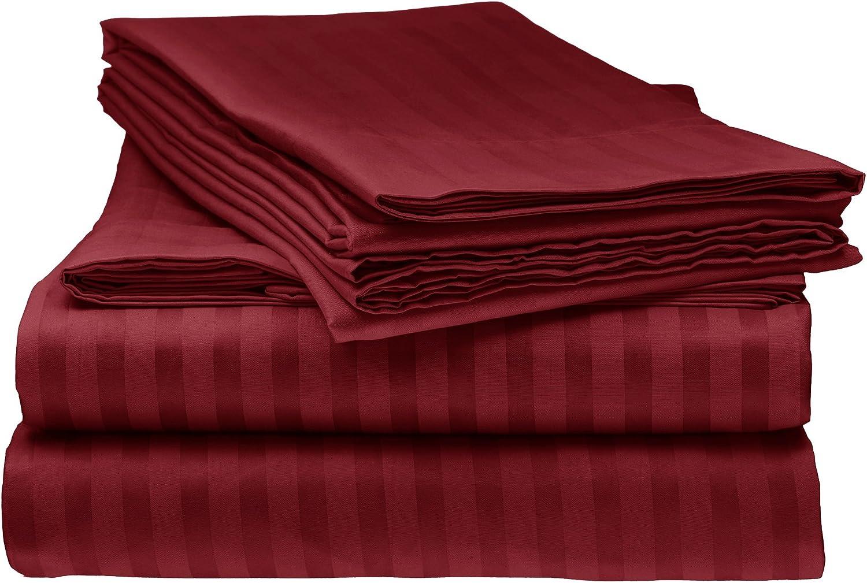 ITALIAN Prestige 4PC KING Striped Sheet Set, BURGUNDY