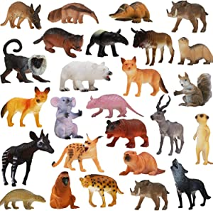 Animals Figure, 25 Piece Realistic Looking Animals Toys Set(4 inch), ValeforToy Jungle Wild Vinyl Plastic Animal Learning Toys for Boys Girls Kids Toddlers Forest Animals Toys Party Favors Playset