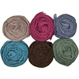 MANSHU 6 PCS Women Soft Scarf Shawl Long Scarf, Scarf and Wrap, Big Head Scarf