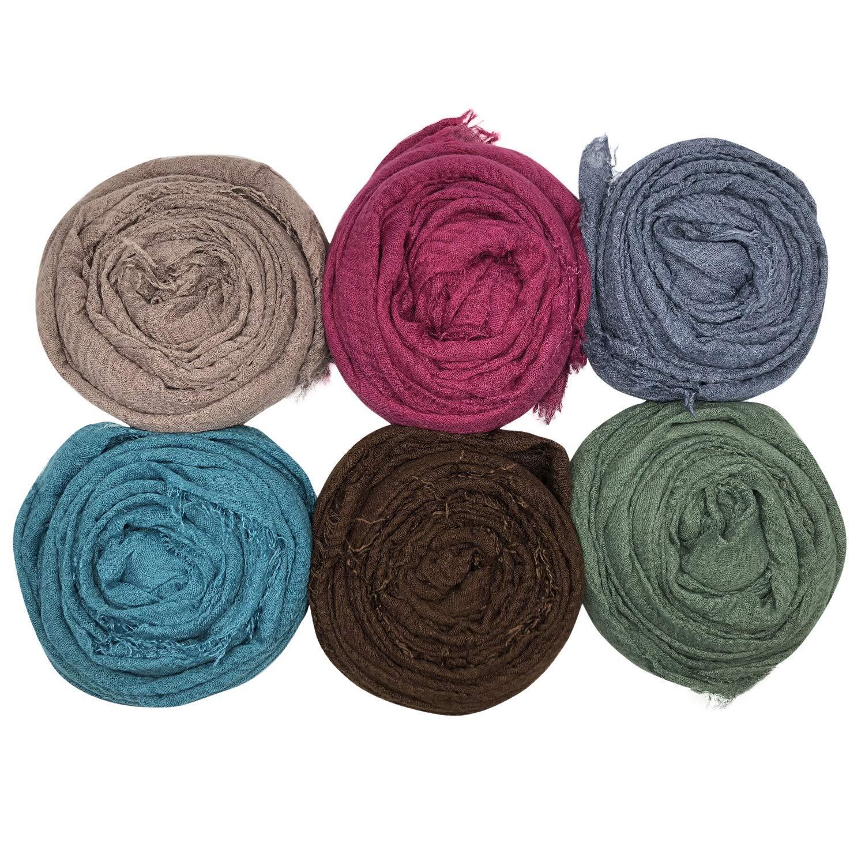 MANSHU 6PCS Women Soft Cotton Hemp Scarf Shawl Long Scarves, Scarf and Wrap, Big Head Scarves by MANSHU