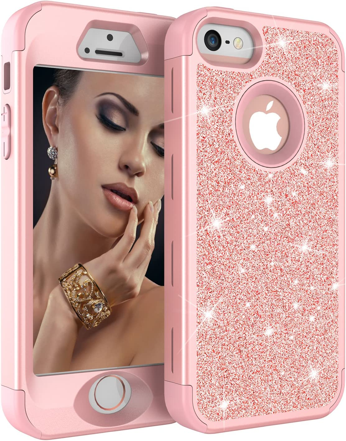 iPhone 5S Case, iPhone 5 Case,iPhone SE Case, Ankoe Luxury Glitter Sparkle Bling Shiny Heavy Duty Hybrid Sturdy Armor Defender High Impact Shockproof Cover Case for Apple iPhone 5 5S SE (Rose Gold)