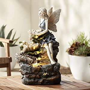 "John Timberland Garden Water Fairy 18 1/2"" H Table Fountain with LED Light"