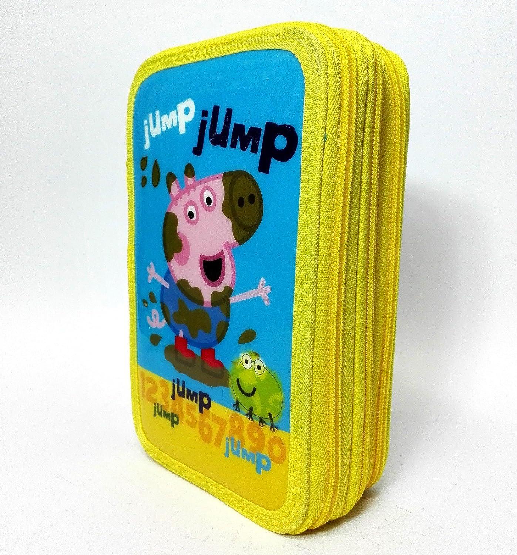 Estuche 3 bisagras George Peppa Pig Jump amarillo escuela accessoriato: Amazon.es: Oficina y papelería