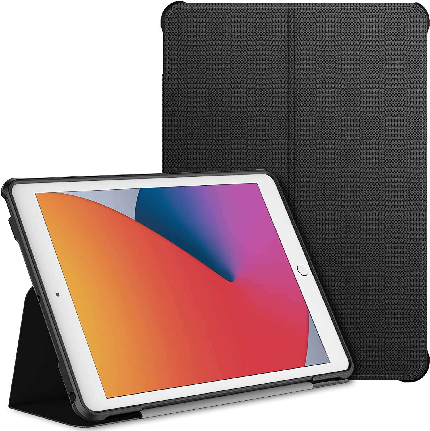 JETech Case for iPad 8/7 (10.2-Inch, 2020/2019 Model, 8th / 7th Generation), Double-fold Stand with Shockproof TPU Back Cover, Auto Wake/Sleep, Black