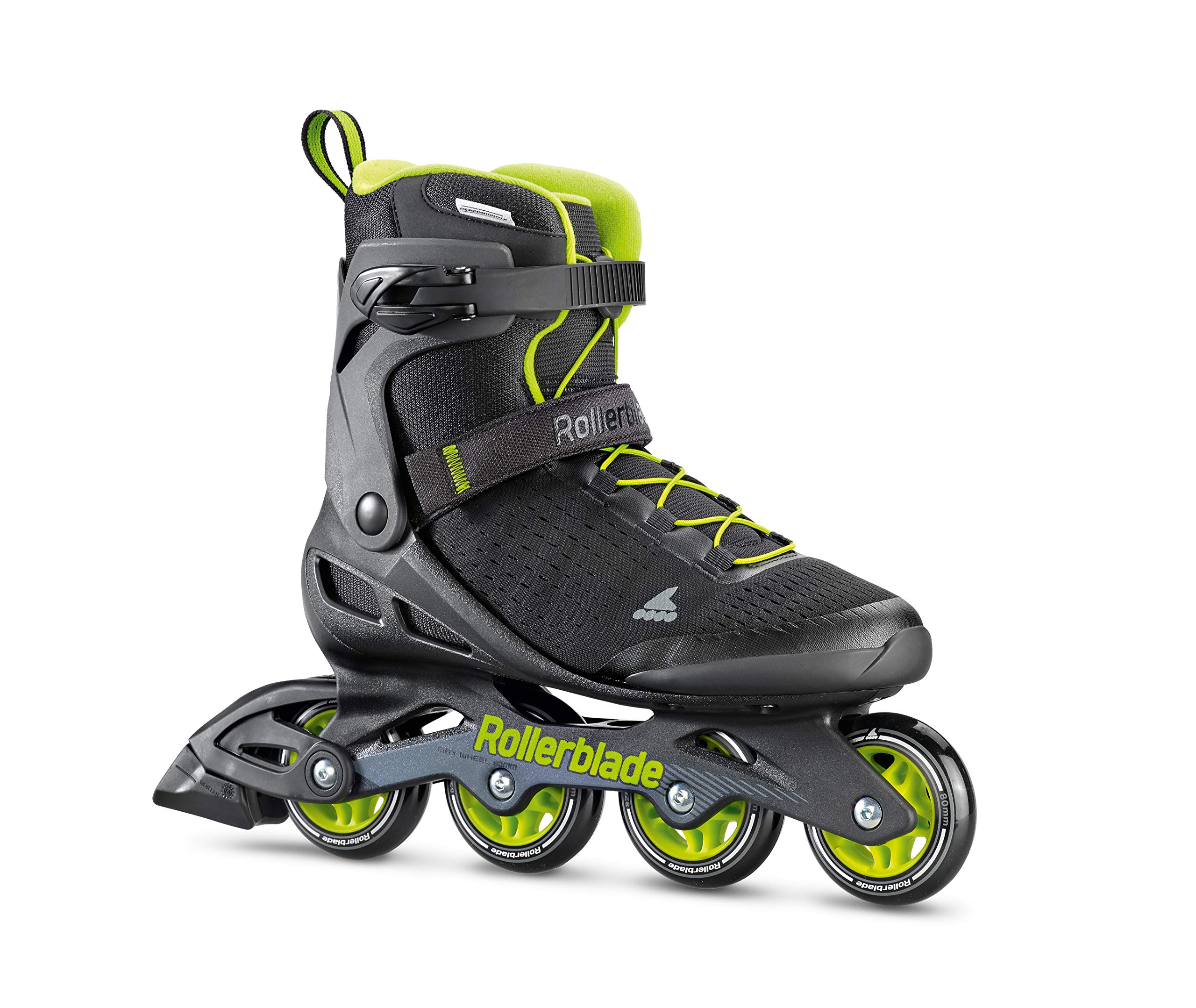 Rollerblade Zetrablade Elite Men's Adult Fitness Inline Skate, Black and Lime, Performance Inline Skates