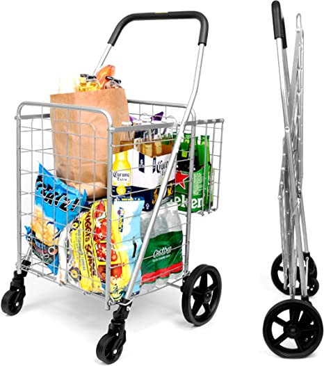 Amazon Com Supenice Grocery Utility Shopping Cart Deluxe Folding Cart With Double Basket And 360 Rolling Swivel Wheels 66 Lbs Utility Cart With Wide Cushion Handle Bar For Grocery Laundry Book Luggage