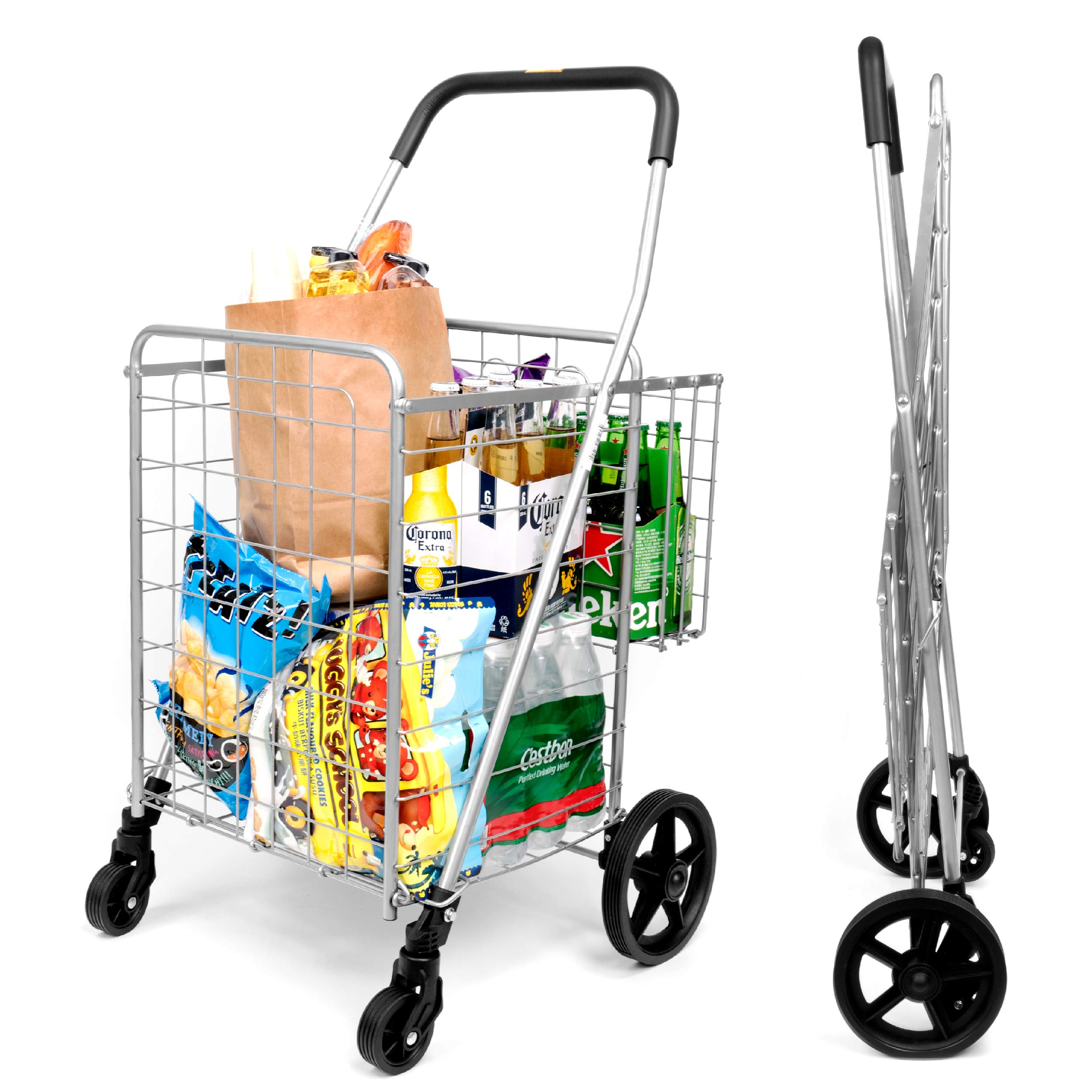 Durable Utility Folding Shopping Cart - Supenice (SN7504) Double Basket, Mesium Size, Swivel Wheels, 66 lbs Capacity Multipurpose Trolley Dolly Suitable with Laundry, Shopping, Grocery