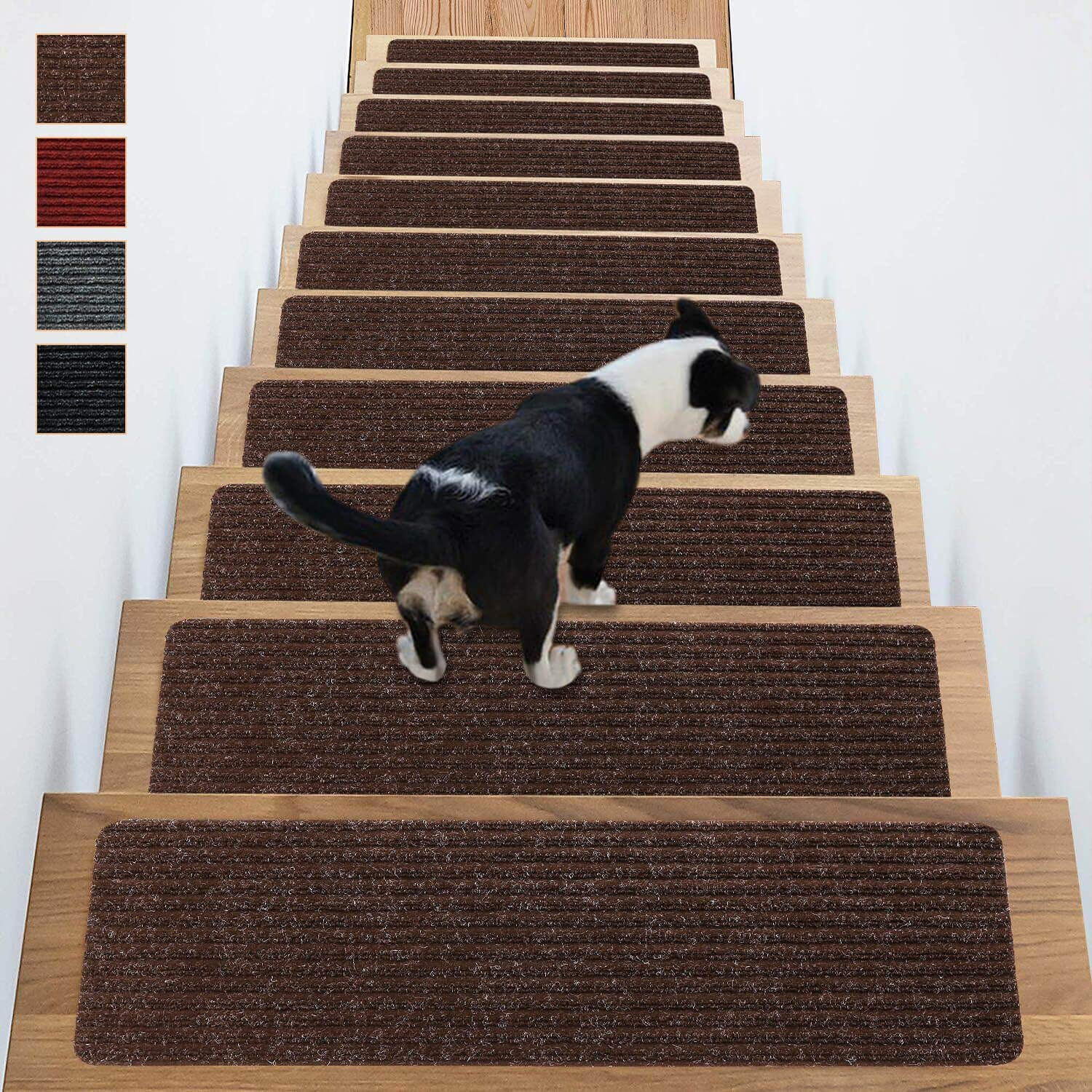 Stair Treads Non-Slip Carpet Indoor Set of 14 Brown Carpet Stair Tread Treads Stair Rugs Mats Rubber Backing (30 x 8 inch),(Brown, Set of 14) by Antdle