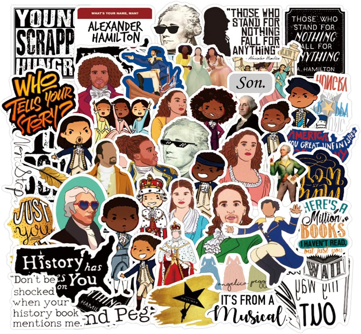 50pcs Alexander Hamilton Vinyls Stickers Laptop Sticker Waterproof Stickers Luggage Skateboard Water Bottle Stickers Decal Bicycle Bumper Snowboard Decorate Gift for Kid. /Hamilton