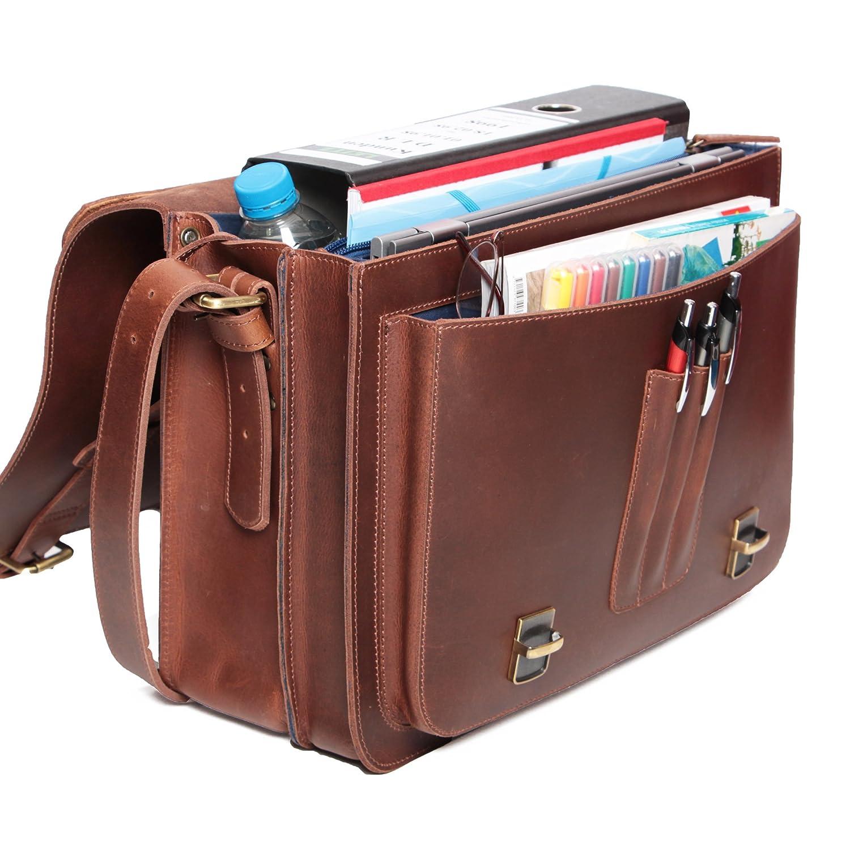 c47a96e5ef ALMADIH sac en cuir *DAVE* Cartable bandoulière Marron Vintage serviette sac  porté épaule Messenger sacoche Travail business ordinateur portable ...