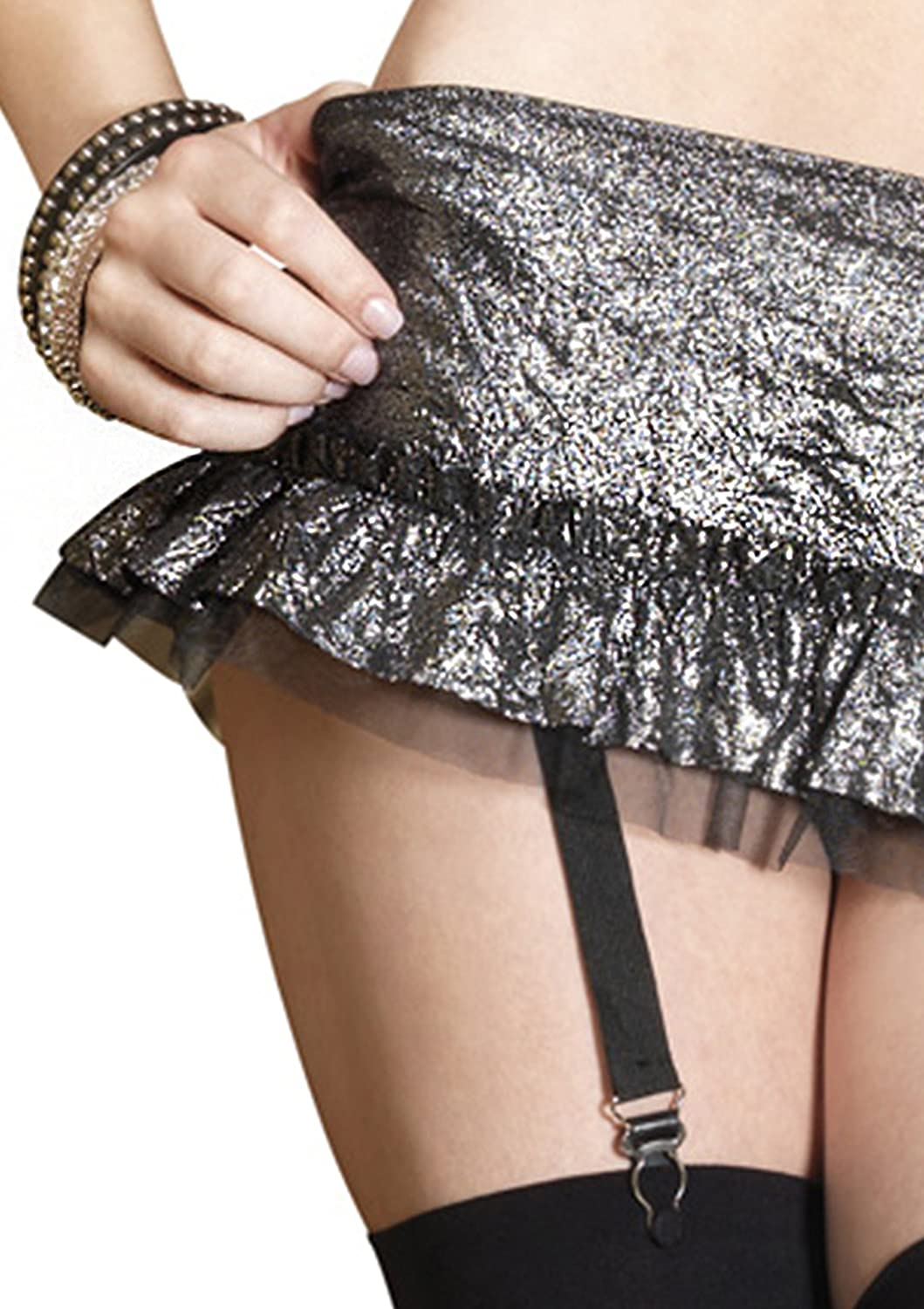 553a43aec Leg Avenue Women s Platinum Crushed Foil Wrap Top and Garter Mini Skirt   Amazon.in  Clothing   Accessories