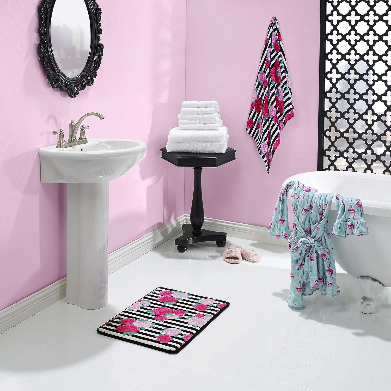Betsey Johnson Flower Stripe Towel Set, 52x27, Medium Pink