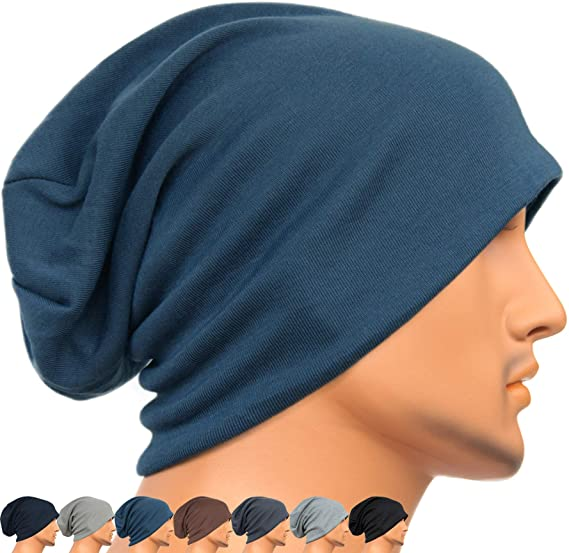 Rayna Fashion Men Women Summer Thin Slouchy Long Beanie Hat Cool Baggy  Skull Cap Stretchy Knit 782d7d395c4