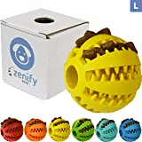 Zenify Puppy Toys Dog Toy Food Treat Interactive Puzzle Ball for Tooth Teething Chew Fetch Tennis Training Boredom Behaviour Dispensing Stimulation Pet Dogs & Puppies (Yellow (Large))