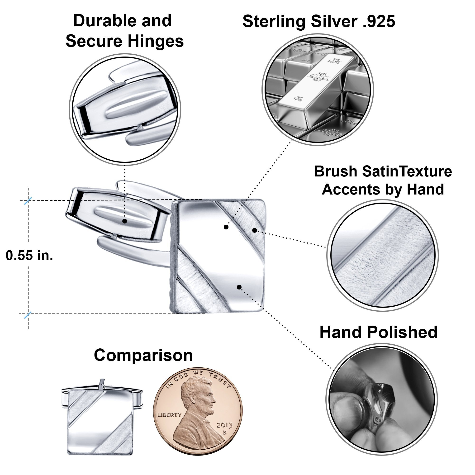 Men's Sterling Silver .925 Square Cufflinks with Satin Finish Accents in Two Corners, Engravable. Made In Italy. 14mm by Sterling Manufacturers (Image #3)