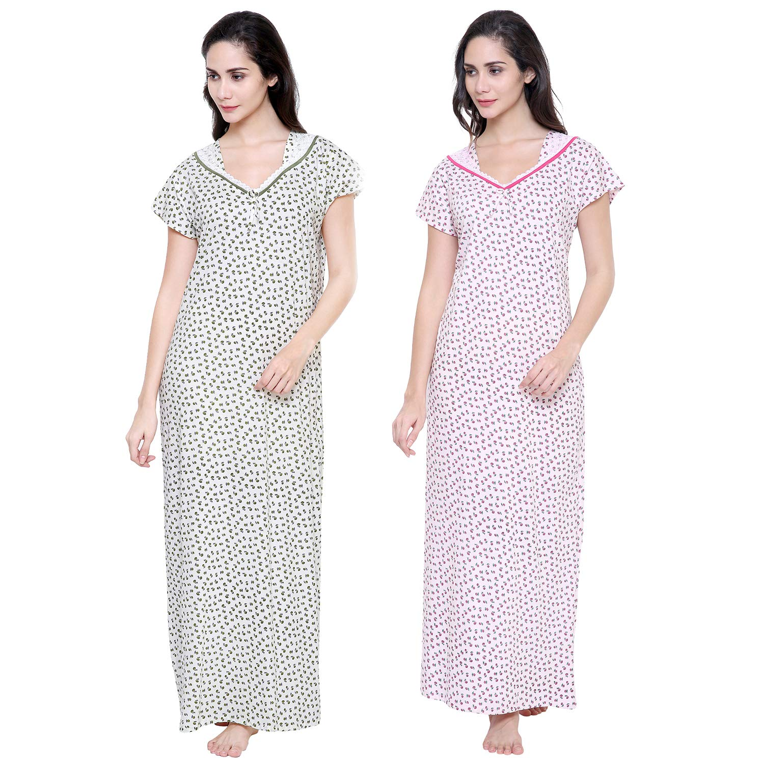 Secret Wish Pink Women s Off-White   Baby-Pink Hosiery Nighties Combo (Free  Size)  Amazon.in  Clothing   Accessories 0567e779b
