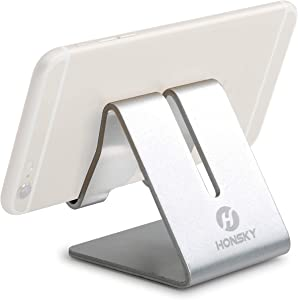 Honsky Solid Portable Universal Aluminum Desktop Desk Stand Hands-Free Mobile Smart Cell Phone Holder Tablet Display Stand, Compatible with iPhone 7 6 Plus 5 Ipad iPod touch Samsung, Silver