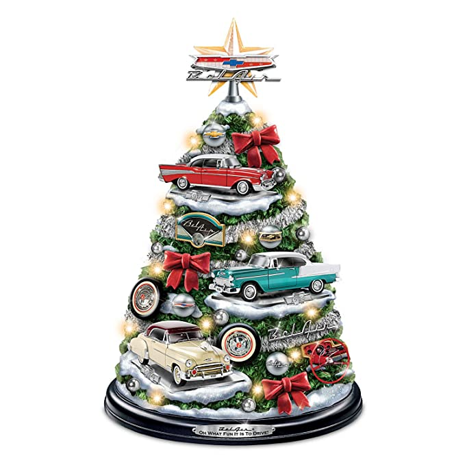 amazoncom chevrolet bel air tabletop christmas tree with revving engine sound lights up by the bradford exchange home kitchen