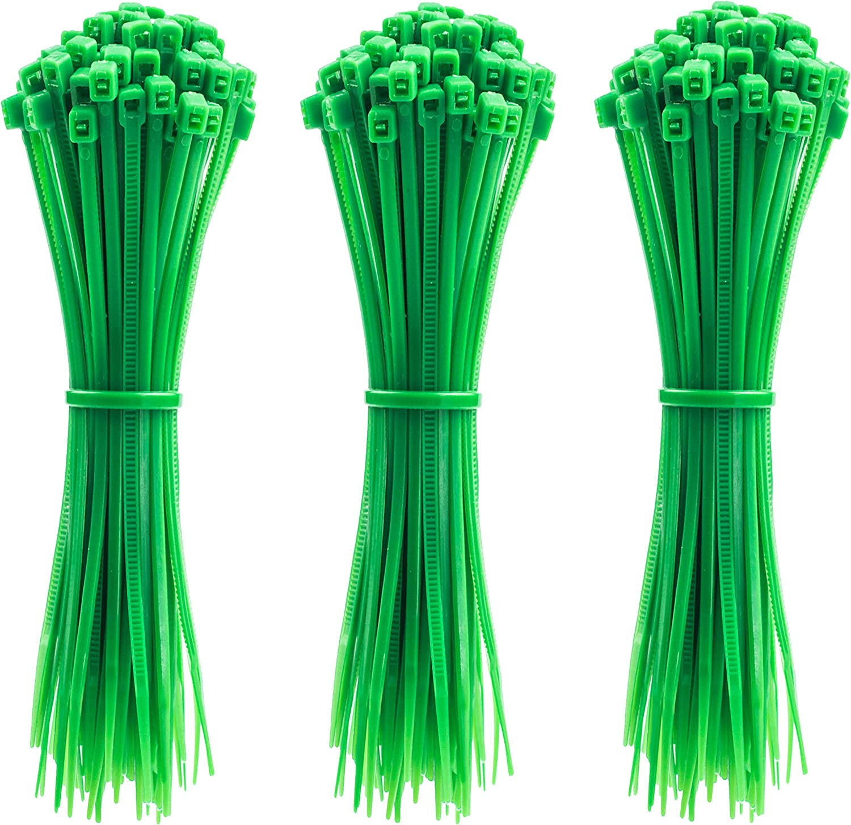 4 Inch Zip Ties, 300pcs Nylon Cable Ties GREEN