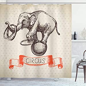 Ambesonne Vintage Shower Curtain, Hand Drawn Dancing Elephant Circus Vintage Backdrop Wizard Miracle Wonder Animal, Cloth Fabric Bathroom Decor Set with Hooks, 75