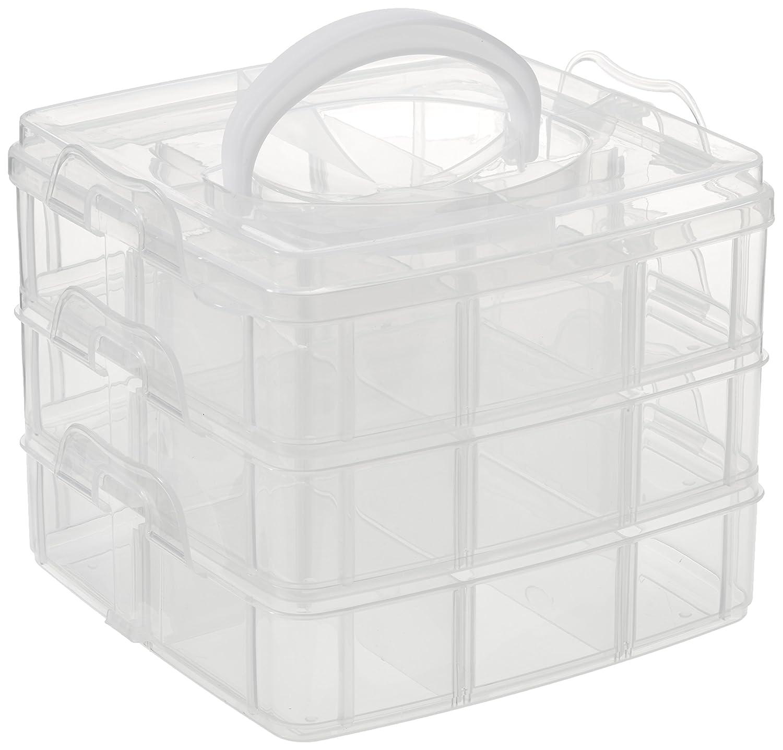 Rayher Sorting scatola con manico, plastica, Multicolore, 15,5x 15,5x 12,9cm, 3x 6scomparti Rayher Hobby GmbH 3918100