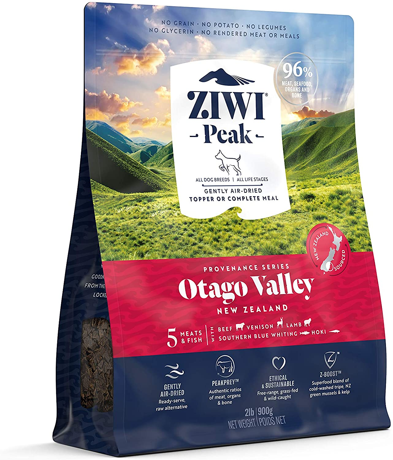 ZIWI Peak Provenance Air-Dried Dog Food – All Natural, High Protein, Grain Free with Superfoods (Otago Valley, 2lb)