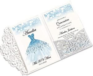 DORISHOME 4.7x7 Inch Glitter Silver 50PCS Blank Quinceanera Invitations Kit Laser Cut Hollow Rose Pocket Quinceanera Invitation Cards with Envelopes for Quincenera Birthday