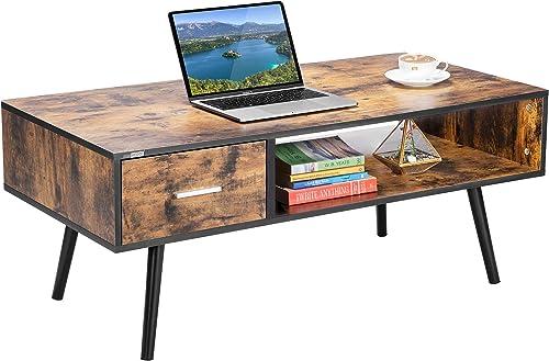 Editors' Choice: VIVOHOME 43 Inch Wooden Retro Mid-Century Modern Coffee Table