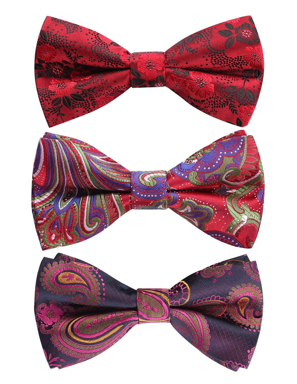 BASH 8 PACKS Elegant Adjustable Pre-tied bow ties for Men Boys in Different Colors N