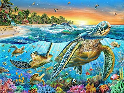 feilin DIY Diamond Rhinestone Painting Kits for Adults and Beginner Embroidery Arts Craft Home Decor Turtle 30x40cm 5D Diamond Painting Full Drill