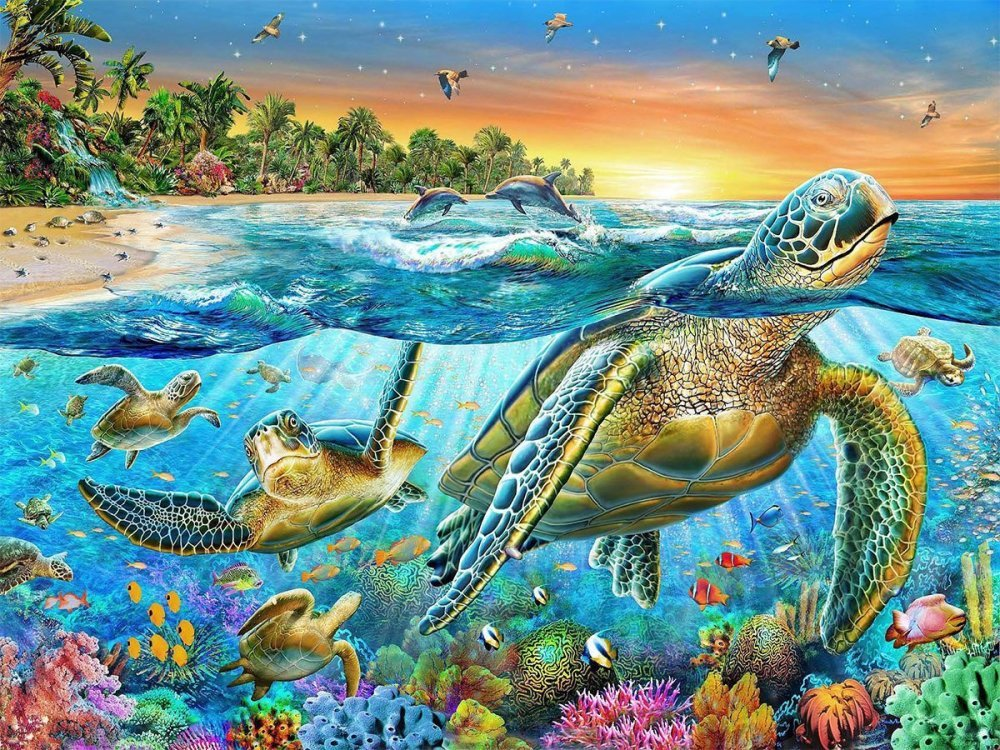 DIY 5D Diamond Painting Kit, Full Diamond Turtle Embroidery Rhinestone Cross Stitch Arts Craft Supply for Home Wall Decor Xinchout