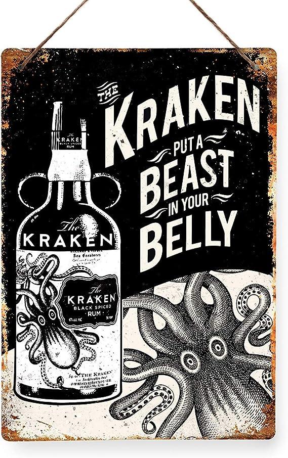 Kraken Ron – réplica Vintage placa metálica para la pared Retro pub bar Mancave, 29x20cm STICKY PADS