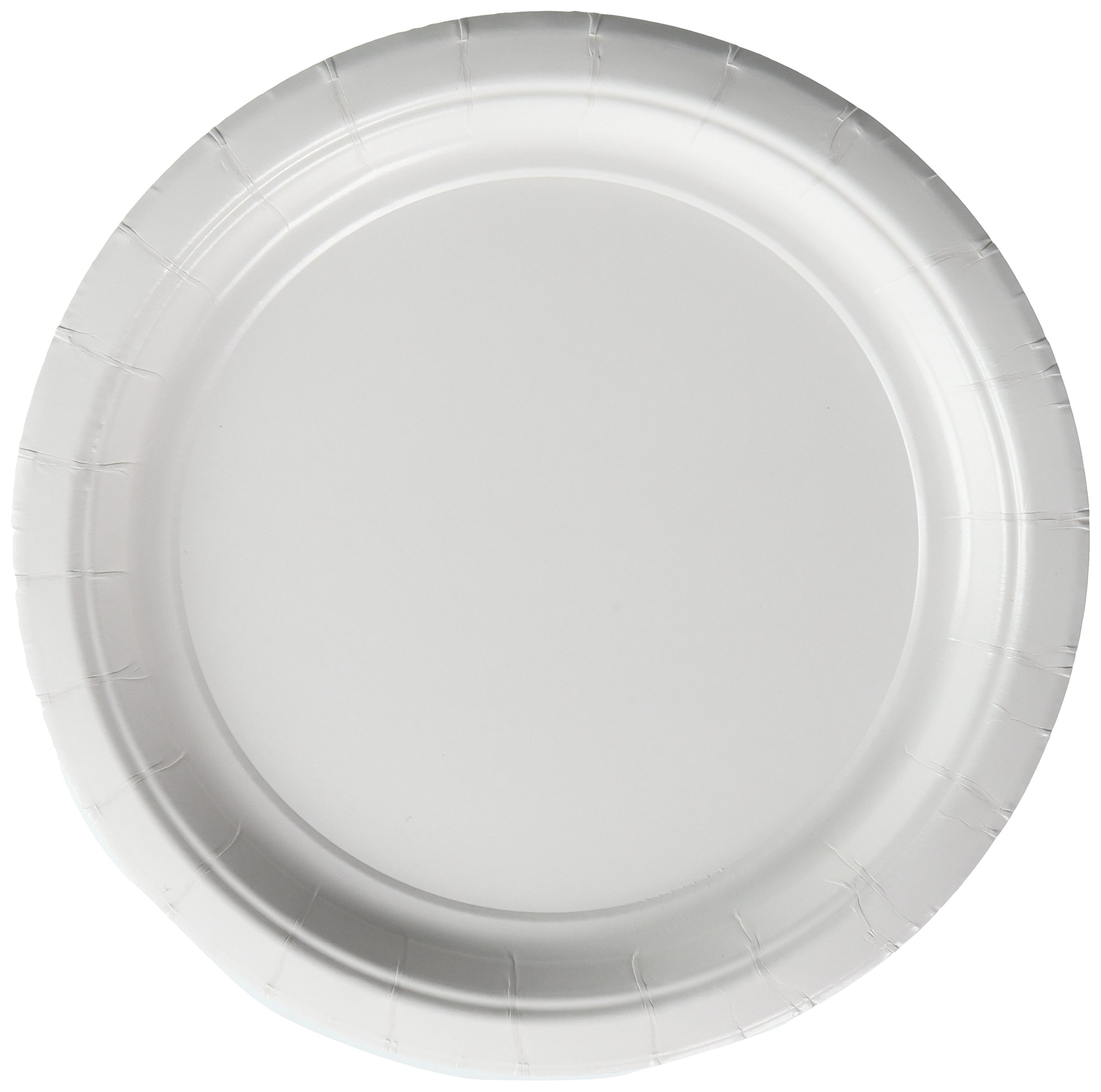 Amscan Durable Round Dessert Plates Big Bundle Party Tableware Paper, 7'', Pack of 50 Childrens, Frosty White, 7''