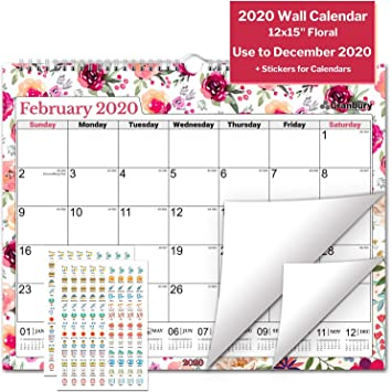 Amazon.com : Large Wall Calendar 2020 (Floral) 15x12