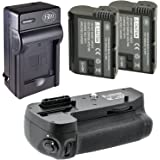 Battery And Charger Kit for Nikon D7100 Digital SLR Camera Includes Vertical Battery Grip + Qty 2 Replacement EN-EL15 Batteries + Rapid AC/DC Charger + LCD Screen Protectors + Micro Fiber Cleaning Cloth