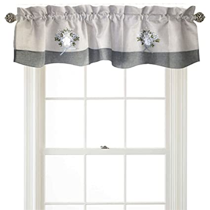 Violet Linen Artistic Decorative Burlap, 60 x 15 Window Valance - Gray