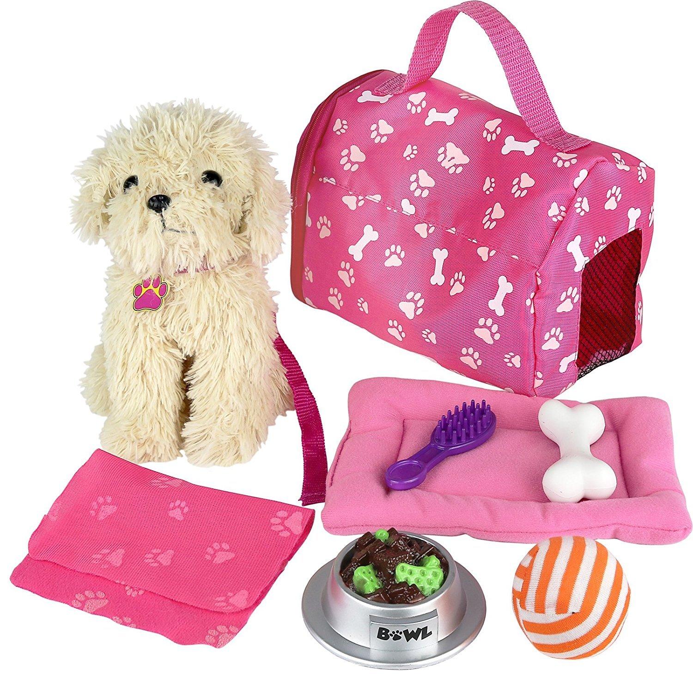 Doll Puppy Set Dog Kids Toys Pretend Play Ball Bone Blanket Girl