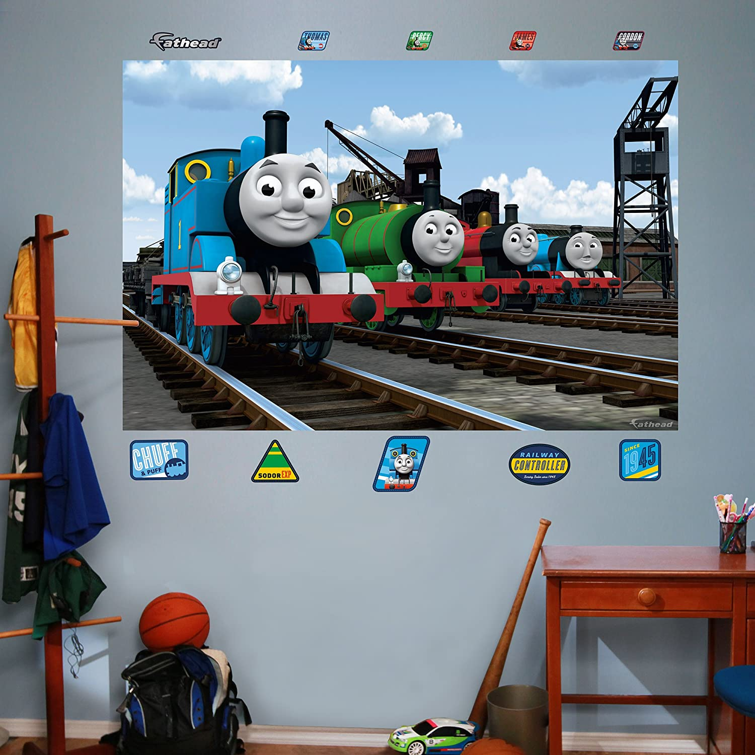 Amazon.com: FATHEAD Thomas And Friends: Group Mural Graphic Wall Décor:  Home U0026 Kitchen