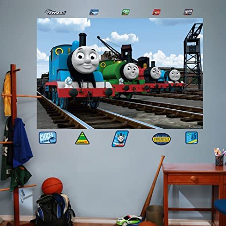 Amazon.com: FATHEAD Thomas and Friends: Group Mural Graphic Wall ...