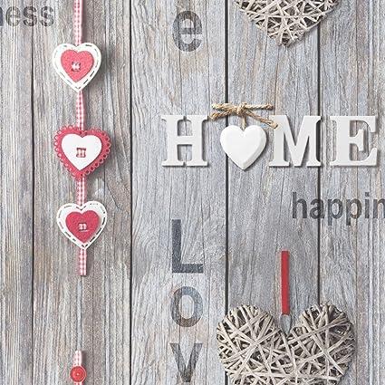 Fine Decor Love Your Home Wallpaper Red Hearts 10m FD41718