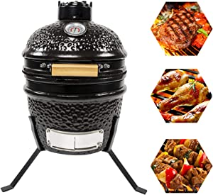 CHARAPID 12 Inch Kamado Grill, Ceramic Charcoal Egg Grill, Multifunctional Outdoor Smoker Grill for BBQ, Camping and Picnic